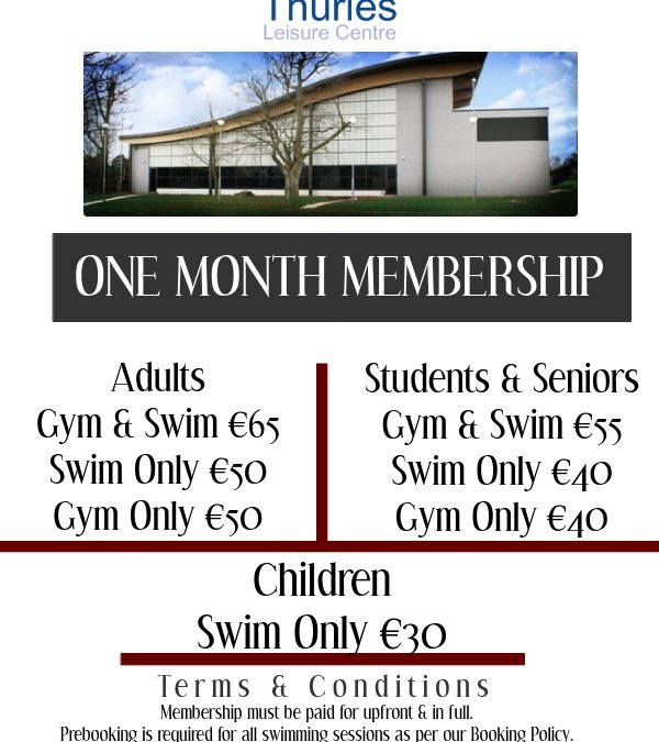 one month membership offers 2020