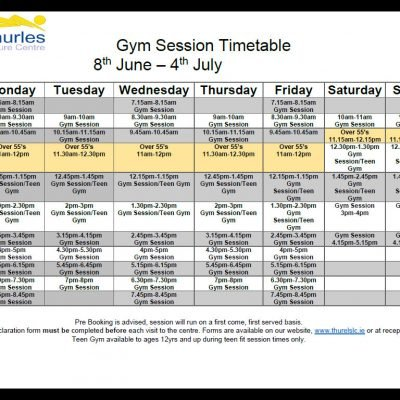 New Gym Session Timetable