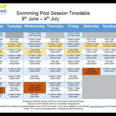 Swimming pool timetable 8th June-4th July